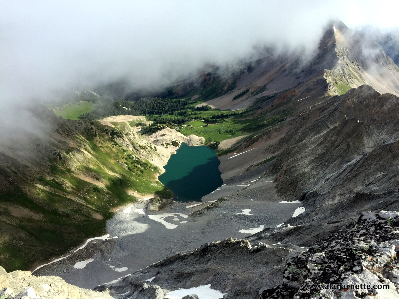 Capitol Lake from the summit. We camped nearby