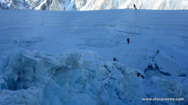 Climbers at top of Icefall in 2016