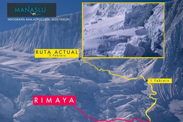 New Manaslu route. Courtesy of Alex Txikon