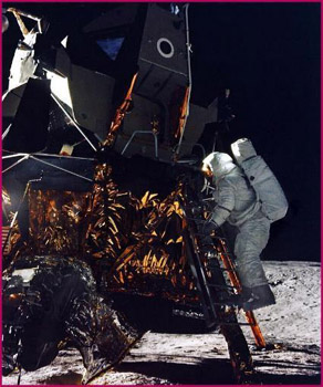 Bean stepping onto the lunar surface for the first time on Nov. 19, 1969.