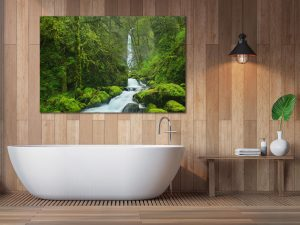 Modern contemporary bathroom 3d rendering image.Decorate wall an