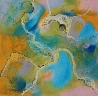 """Terrestrial II"""" 12""""x12"""" Encaustic, sumi ink, charcoal, pigment, oil, alcohol ink on panel AVAILABLE"""