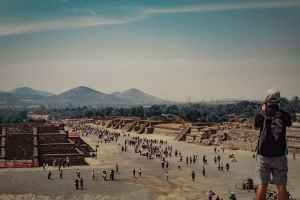 Vista de la ciudad prehispánica de Teotihuacán.