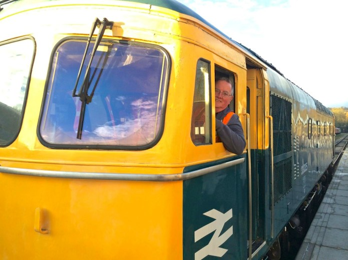 Driving a Class 33 diesel engine at Ecclesbourne Valley Railway.