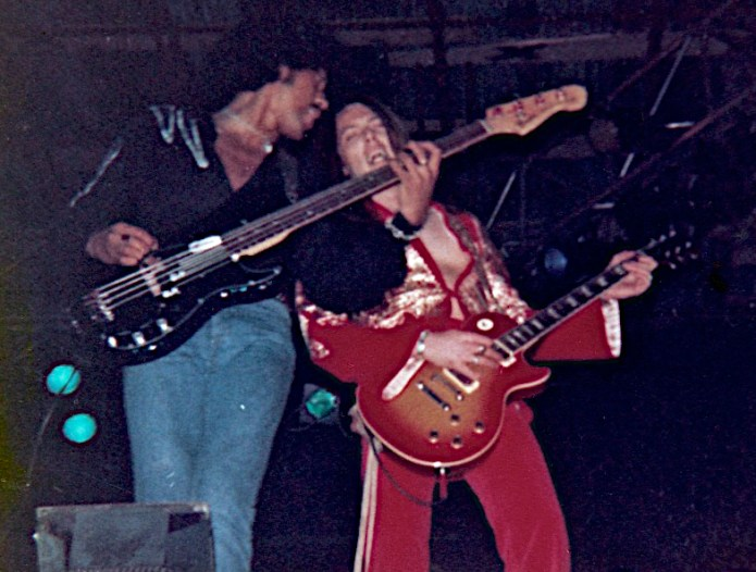 Phil Lynott and Scott Gorham at the Reading Rock and Blues Festival, 1977.