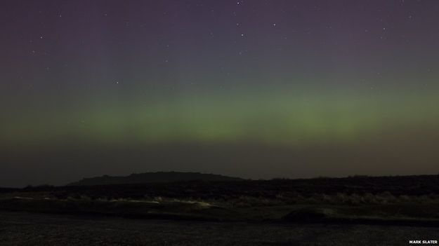 Aurora Borealis from Stanage Edge in the Peak District.
