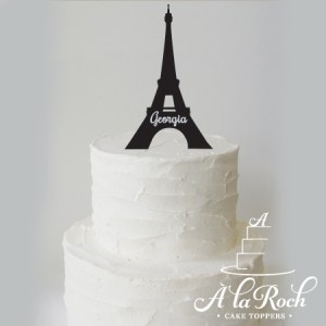 Black Acrylic Eiffel Tower silhouette cake topper with custom glitter name