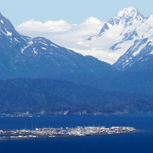 Homer spit with mountain backdrop