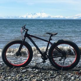 Fat bike on beach in front of Iliamna Volcano