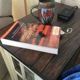 Inside cabin table with book and coffee