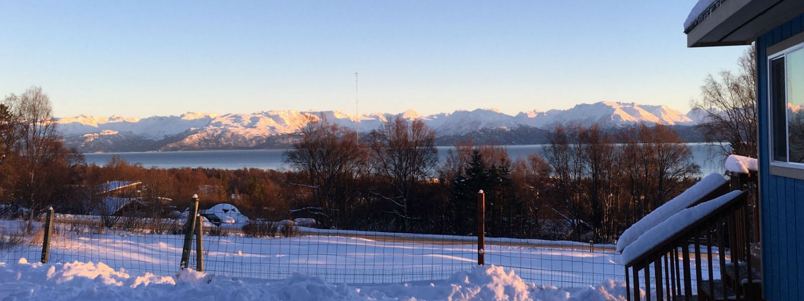 Snowy foreground and Kachemak view