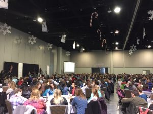 Anchorage teachers and staff gathered at the Dena'ina Center on Nov. 11, 2016 to have conversations about racial equity in education. (Hillman/Alaska Public Media)