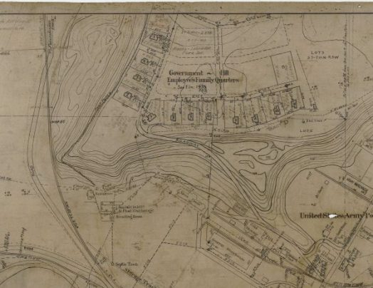 A cropped section of the map showing Government Hill in January 1921, as found in the Alaska Railroad archives. (Photo courtesy of Bob French)