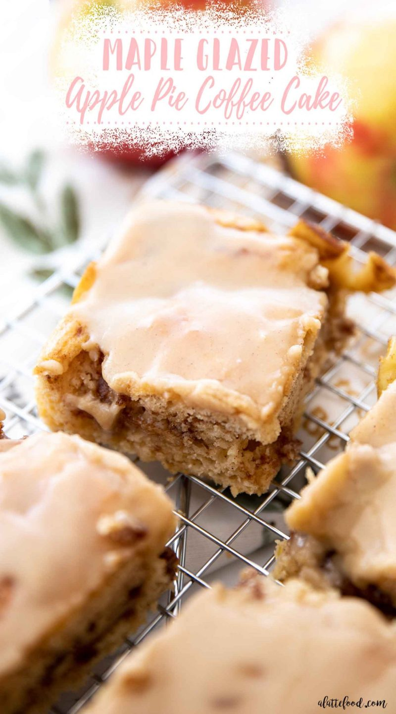 apple coffee cake on wire cooling rack with text