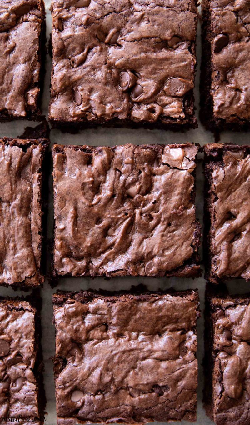 double chocolate fudge brownies cut into squares