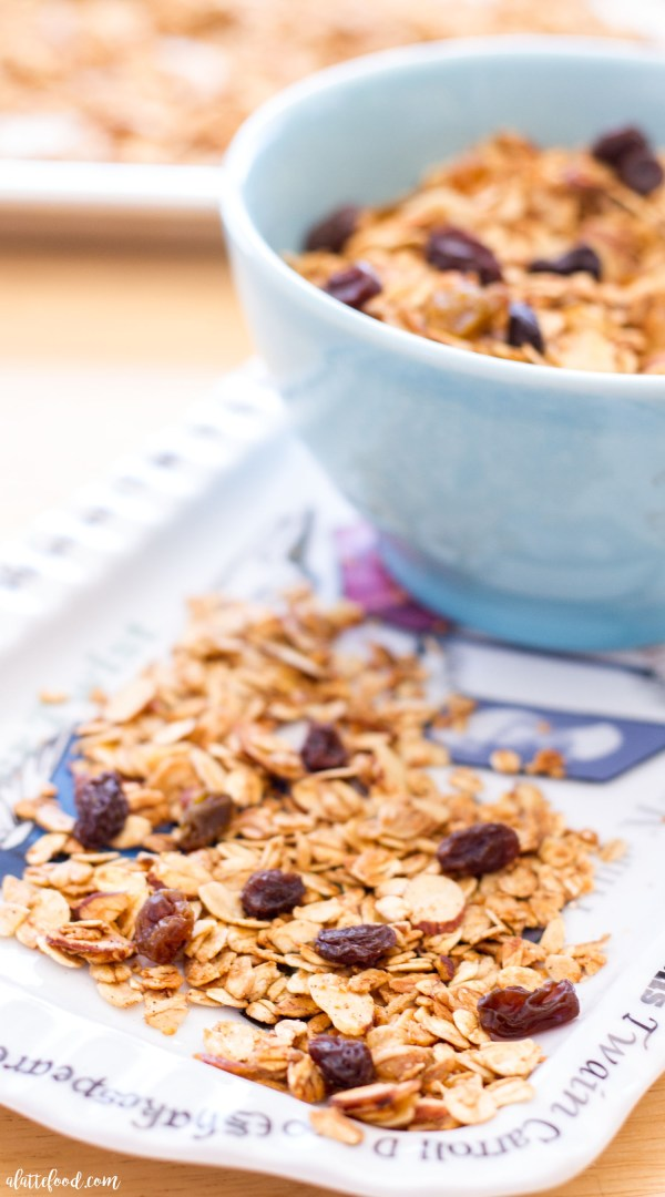 Homemade oatmeal raisin cookie granola tastes just like the classic cookie, but it's in crunchy granola form! Homemade granola is so simple to make and it tastes so incredible!