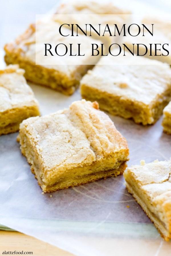 Cinnamon Roll Blondies | A Latte Food
