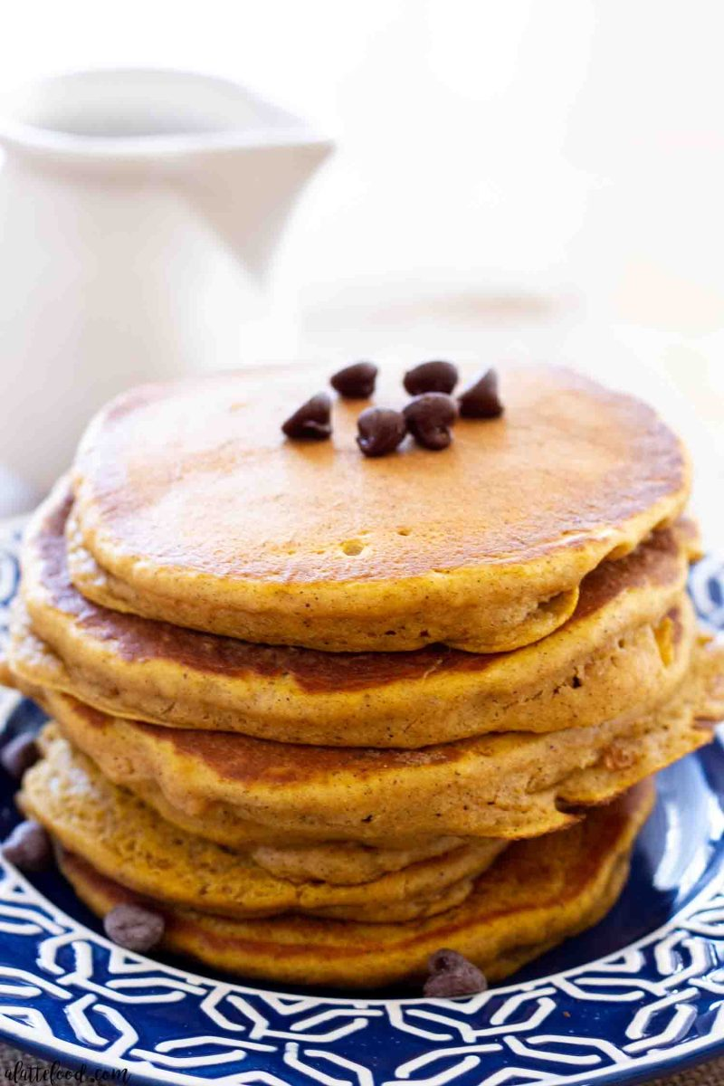 Pumpkin Chocolate Chip Pancake stack on blue and white plate