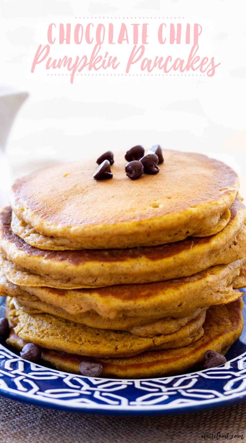 thick and fluffy pumpkin chocolate pancakes stacked on plate