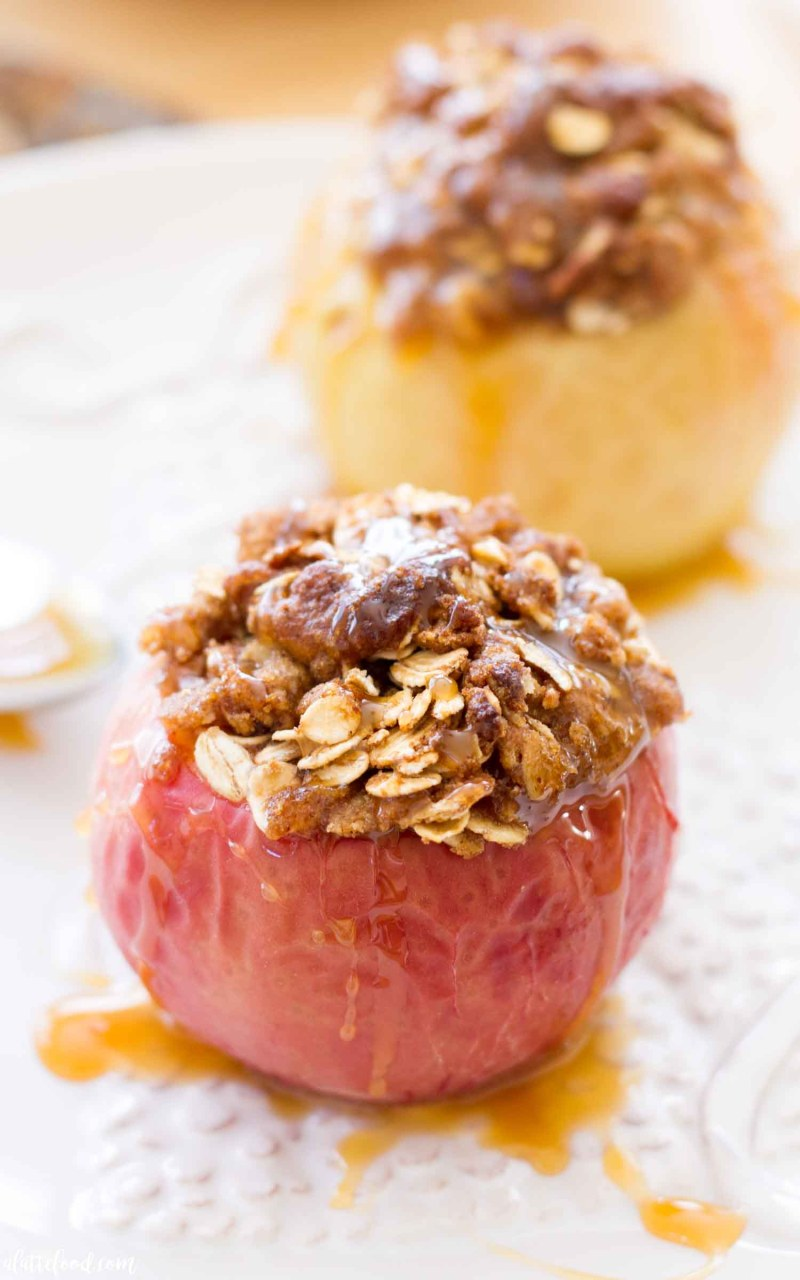 These caramel drizzled Caramel baked apples are topped with a brown sugar crust.