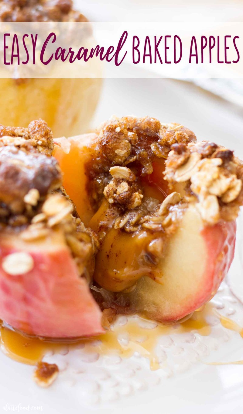 This gooey Caramel Stuffed Baked Apples recipe is so topped with an oat brown sugar crust.