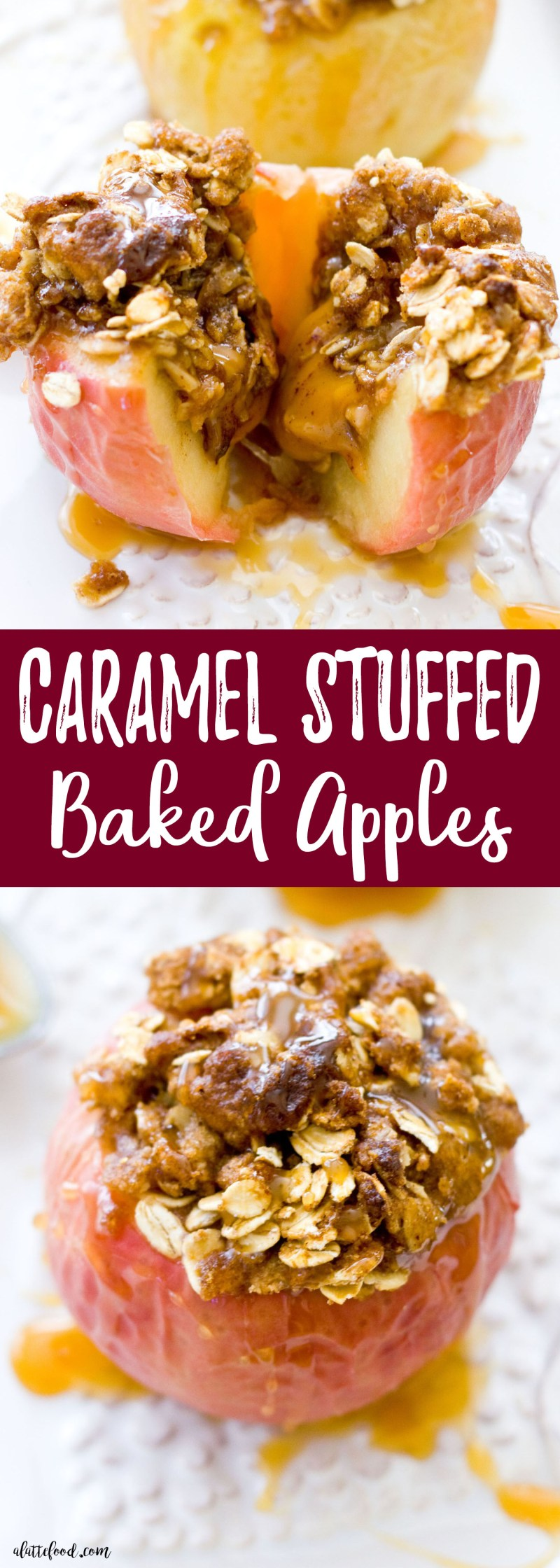 Caramel candies are stuffed inside of apples and baked 'til perfection. Topped with a Dutch apple and oat crust, this dessert is totally acceptable for breakfast (because there are apples and oats involved; it's practically oatmeal