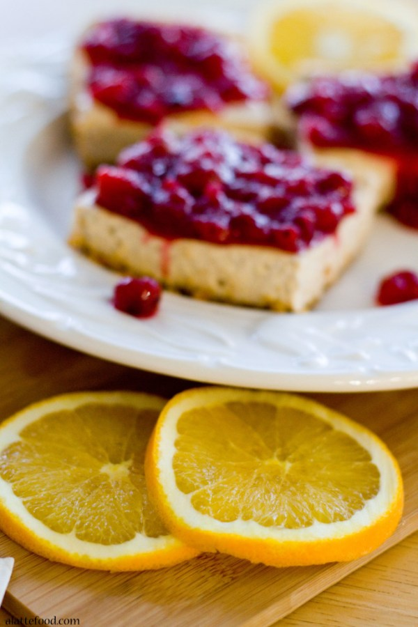 Cranberry Cinnamon Spiced Cheesecake Bars   A Latte Food