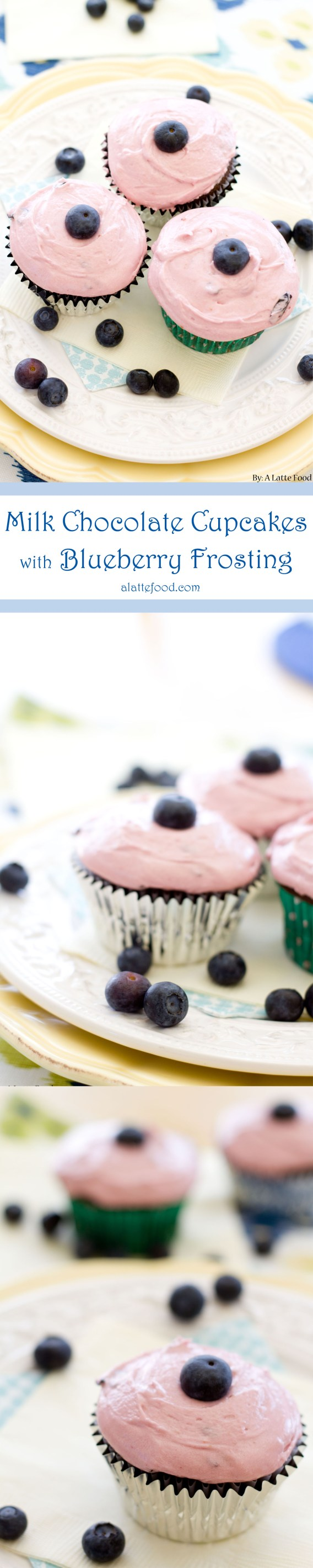 Milk Chocolate Cupcakes with Blueberry Frosting | A Latte Food