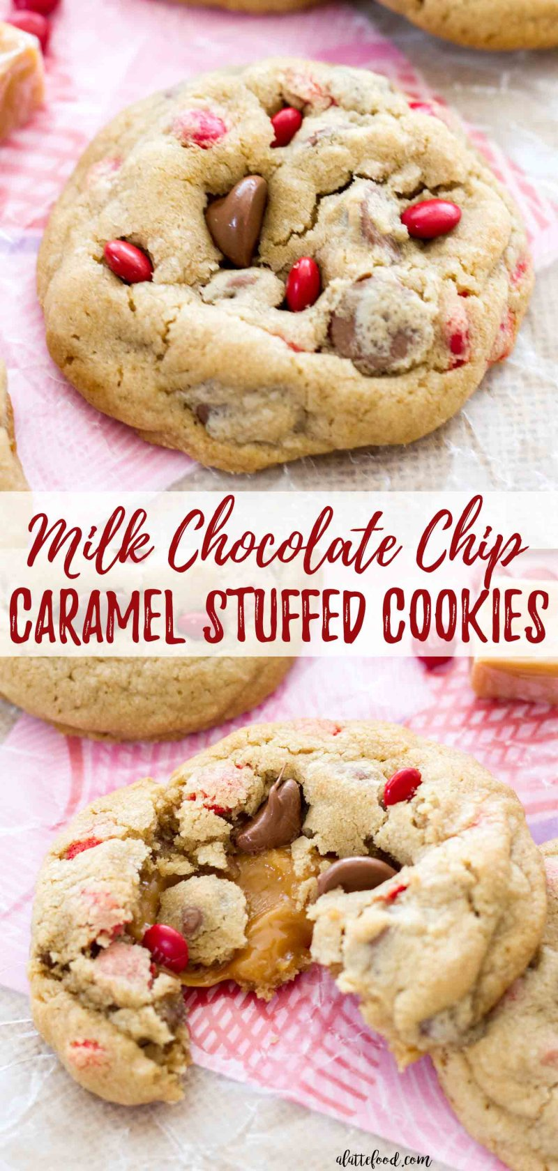 Milk Chocolate Chip Gooey Caramel Stuffed Cookies collage