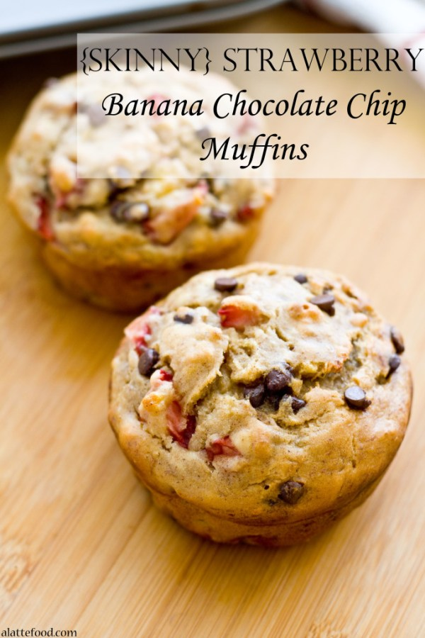 {Skinny} Strawberry Banana Chocolate Chip Muffins   A Latte Food