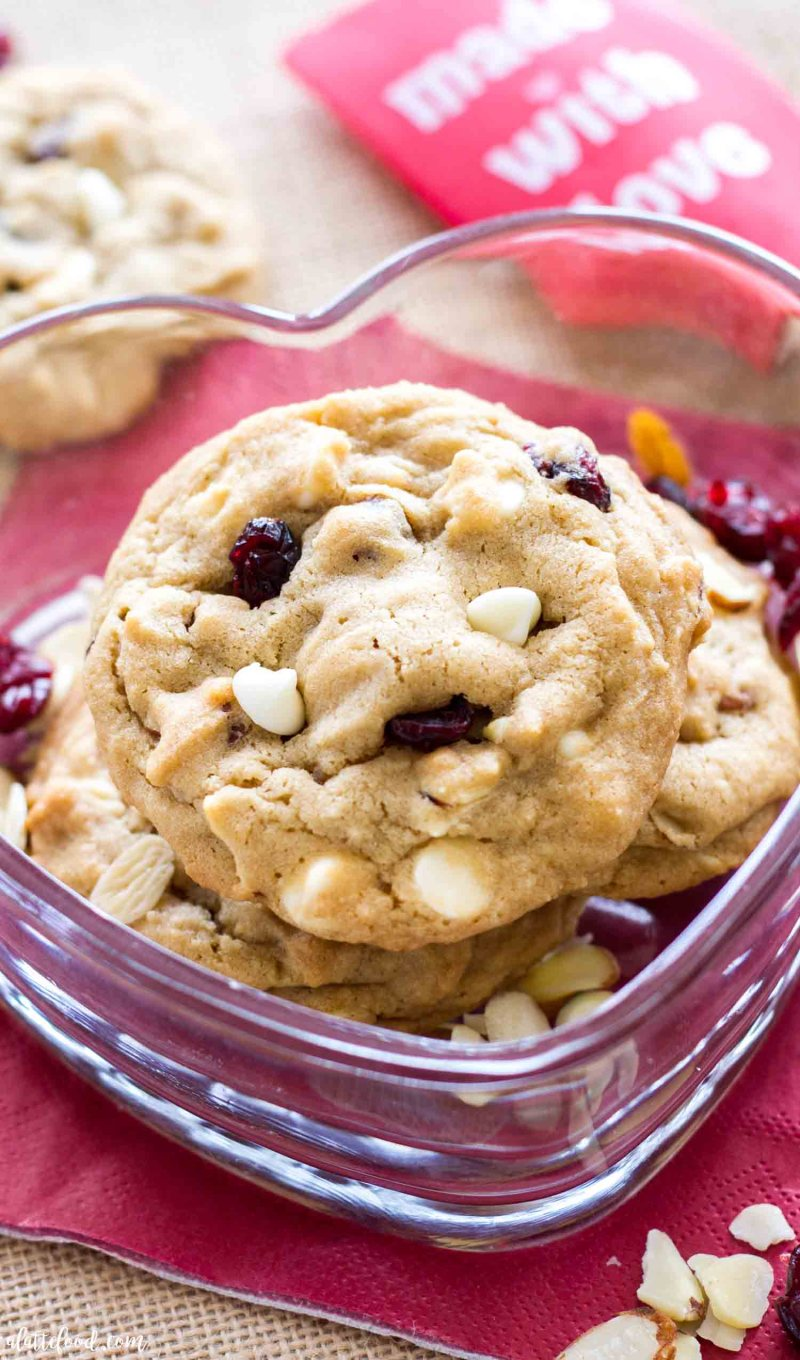 White Chocolate Chip Cherry Almond Cookies are thick, chewy and an easy Valentine's Day dessert idea.