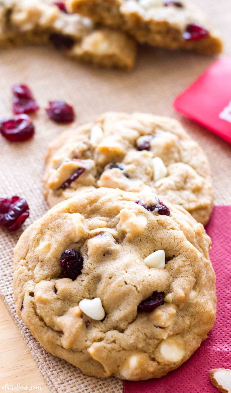 Thick and Chewy Cherry Almond White Chocolate Cookies