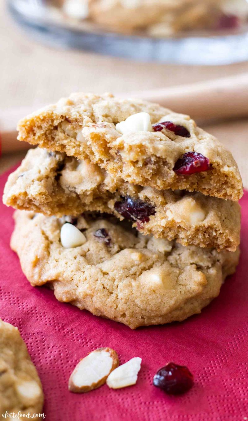 Thick and chewy white chocolate cherry almond cookies.