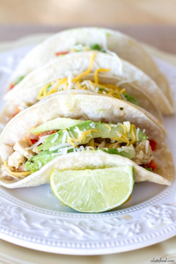 {Crockpot} Salsa Verde Honey Lime Chicken Tacos