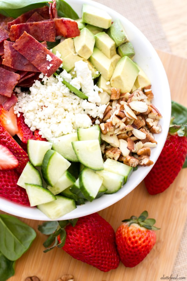 Strawberry, Avocado, & Bacon Spinach Salad | A Latte Food