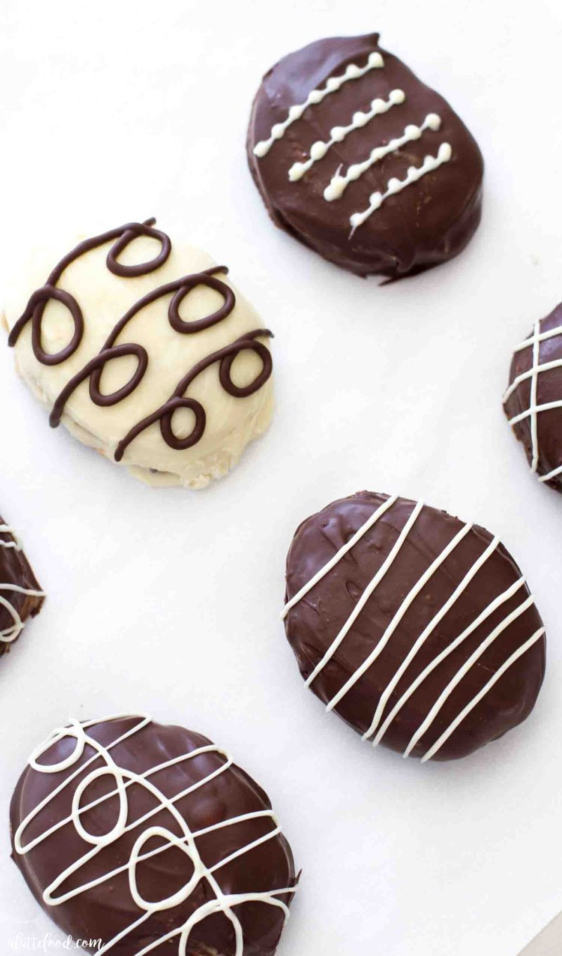 Eggless cookie dough easter egg truffles made with cream cheese and dipped in chocolate