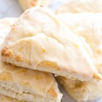 stacked sour cream scones with orange glaze