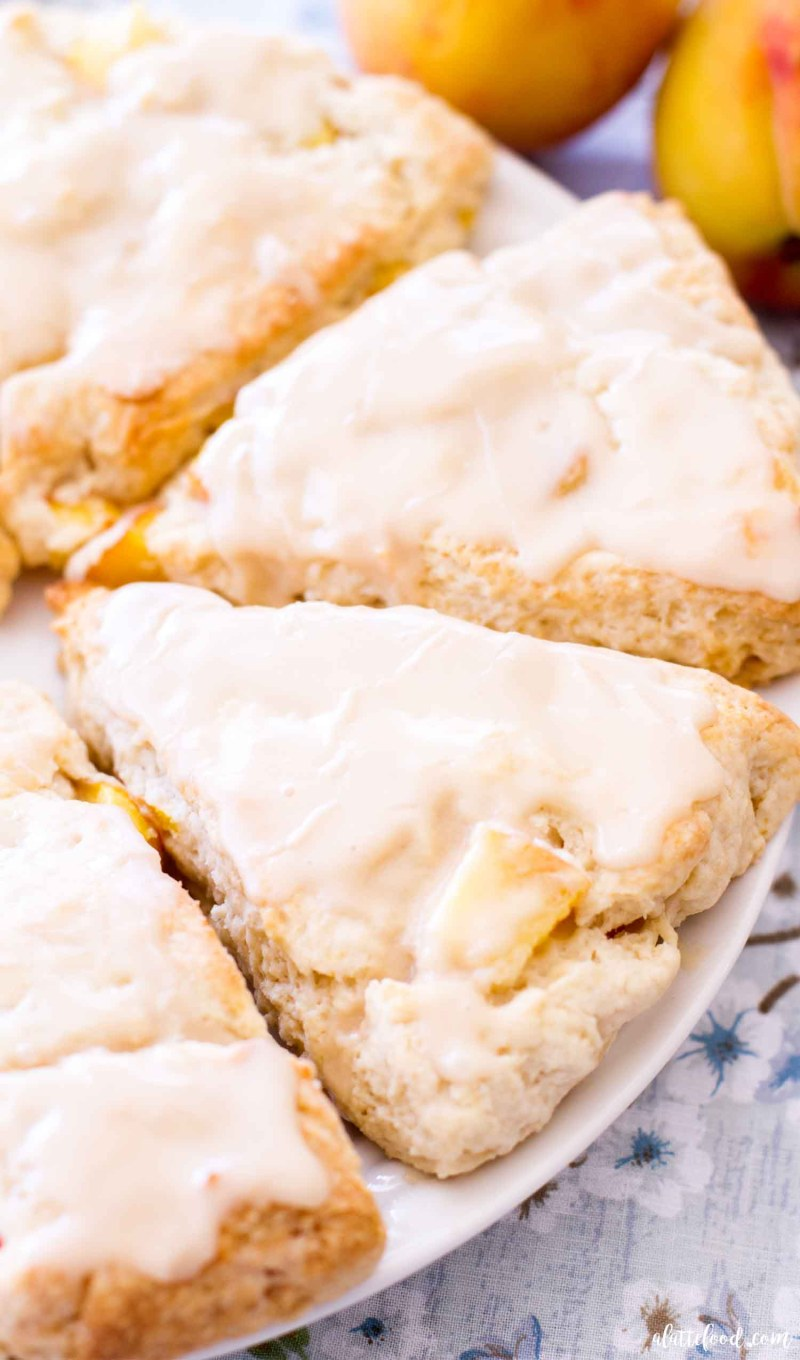 peach scones made with fresh peaches on a white plate