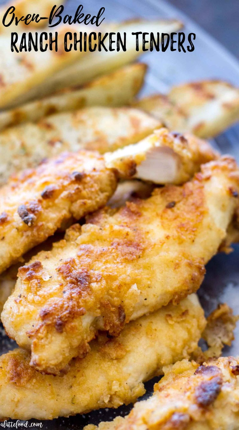 These Oven Baked Ranch Chicken Tenders are baked in the oven instead of fried. These chicken tenders are marinatedwith ranch dressing, giving this homemade chicken tender recipe incredible flavor! They're a total crowd pleaser. oven baked chicken, baked fried chicken, ranch chicken, easy dinner recipe