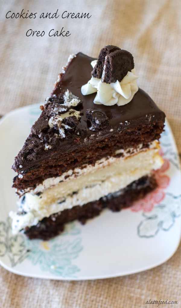 Layers of chocolate and vanilla cake are filled with vanilla frosting, crushed Oreos, and topped with a chocolate ganache. Oh, and each layer has Oreos baked right in. Whoa.