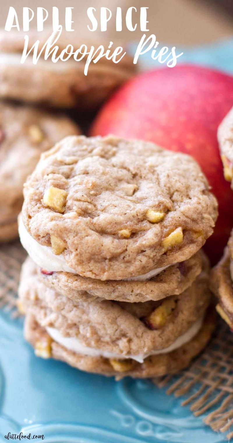These homemade apple spice whoopie pies are filled with cinnamon spice and baked apples. These sweet apple cookies are filled with a rich, cinnamon cream cheese filling. These apple whoopie pies soft, sweet, and taste like fall! They're my current obsession. One of the best fall desserts, my friends.  how to make whoopie pies, apple cookies, thanksgiving recipes