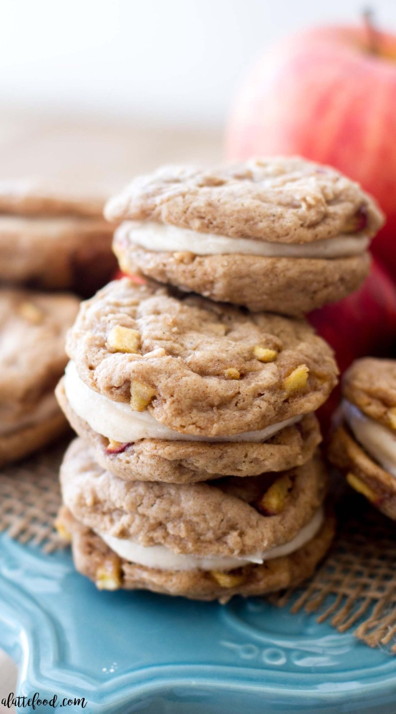 These homemade apple whoopie pies are filled with cinnamon spice and baked apples. These sweet apple cookies are filled with a rich, cinnamon cream cheese filling. They're soft, sweet, and taste like fall! They're my currentobsession. One of the best fall desserts, my friends.