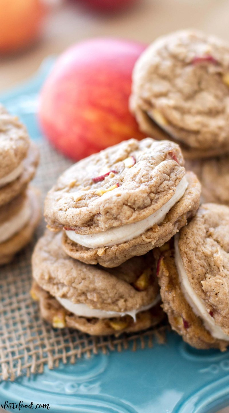 These homemade apple whoopie pies are filled with cinnamon spice and baked apples. These sweet apple cookies are filled with a rich, cinnamon cream cheese filling. They're soft, sweet, and taste like fall! They're my current obsession. One of the best fall desserts, my friends.
