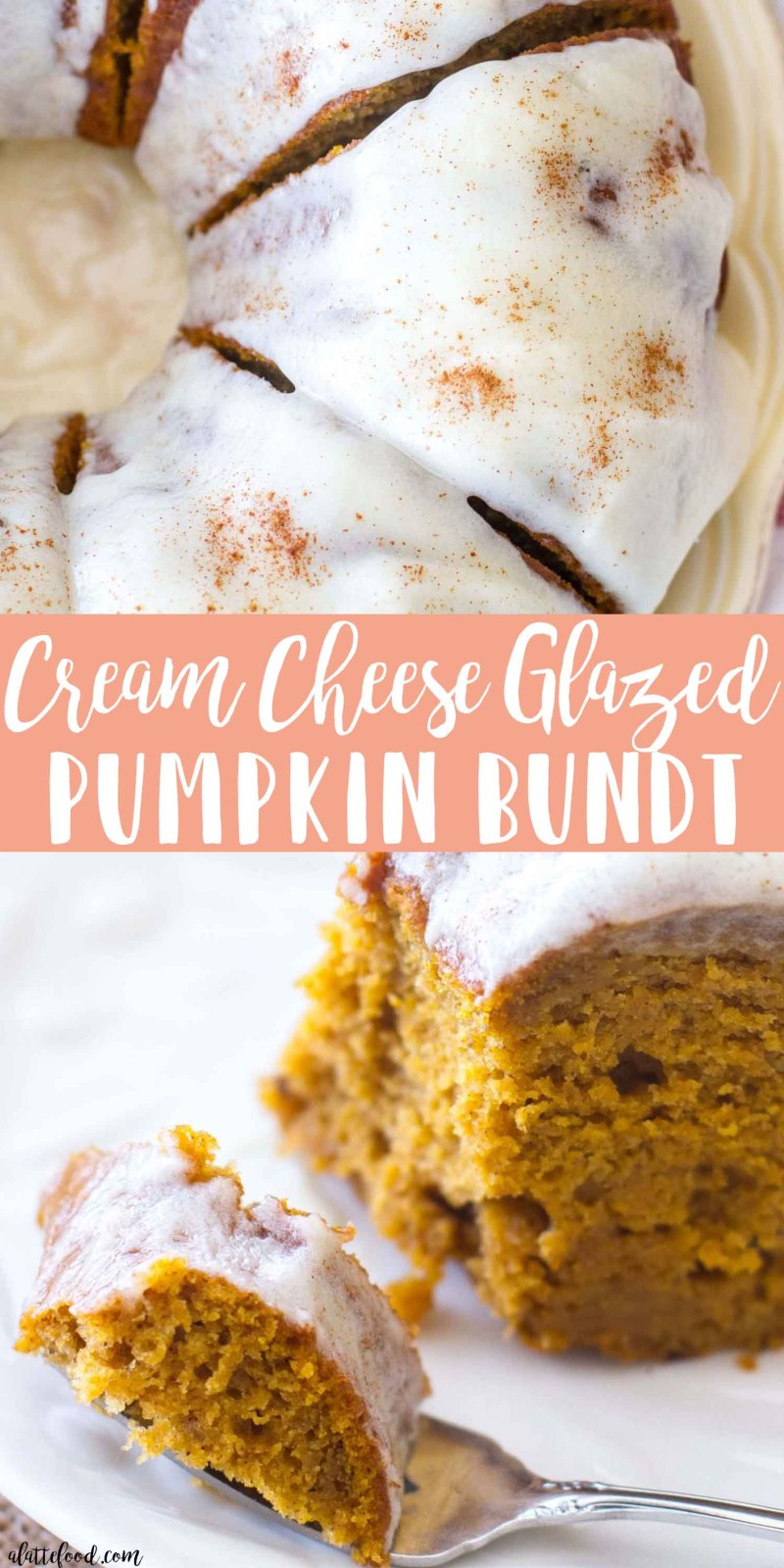This classic fall dessert, Cream Cheese Glazed Pumpkin Bundt Cake, is full of pumpkin flavor, cinnamon spice, and rich cream cheese! This rich pumpkin cake is the perfect fall dessert, and the pumpkin cream cheese frosting is to die for! It is absolutely Heavenly. #pumpkin #cake #fall #dessert #recipe