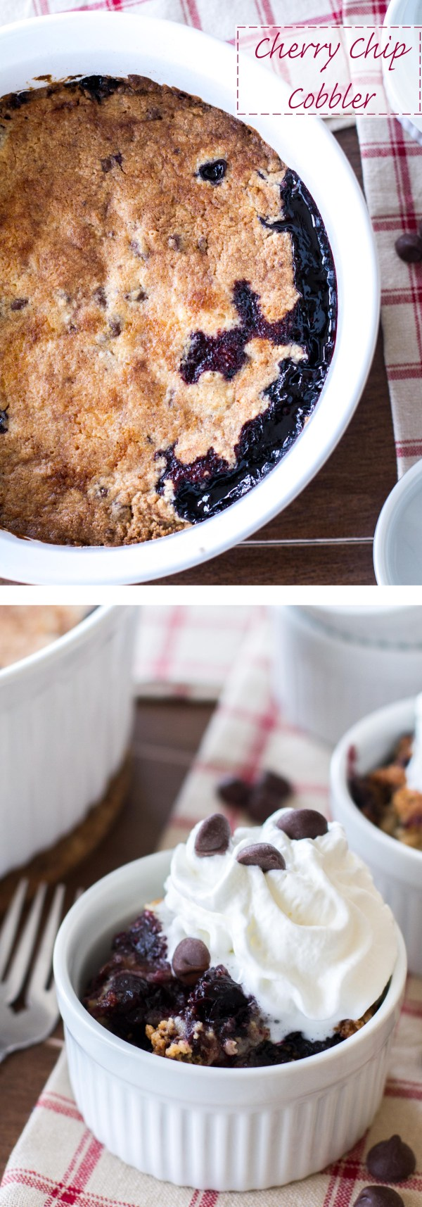 This easy cobbler recipe is full of sweet dark cherries, dark chocolate chips, and topped with a sweet chocolate chip muffin topping!