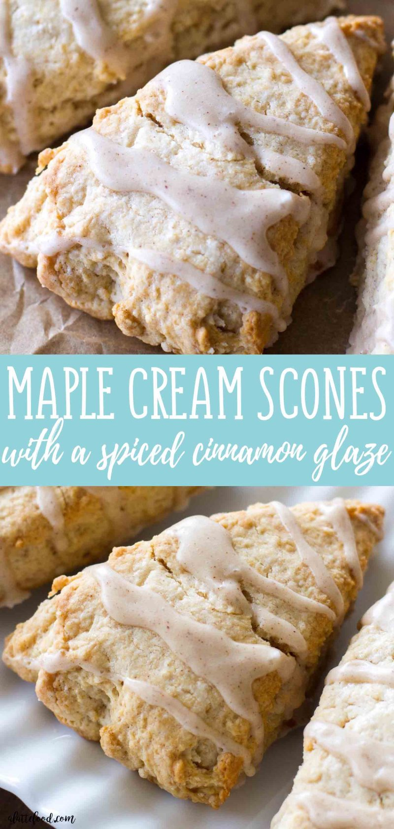 These light and flaky Maple Cream Scones are full of sweet maple flavor and topped with a cinnamon spice glaze! These Maple Cream Scones are the perfect fall breakfast, or sweet fall dessert! how to make scones, homemade scone recipe, how to make moist scones