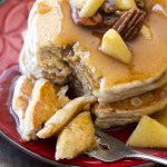 Pecan Pie Pancakes with Apple Cinnamon Syrup
