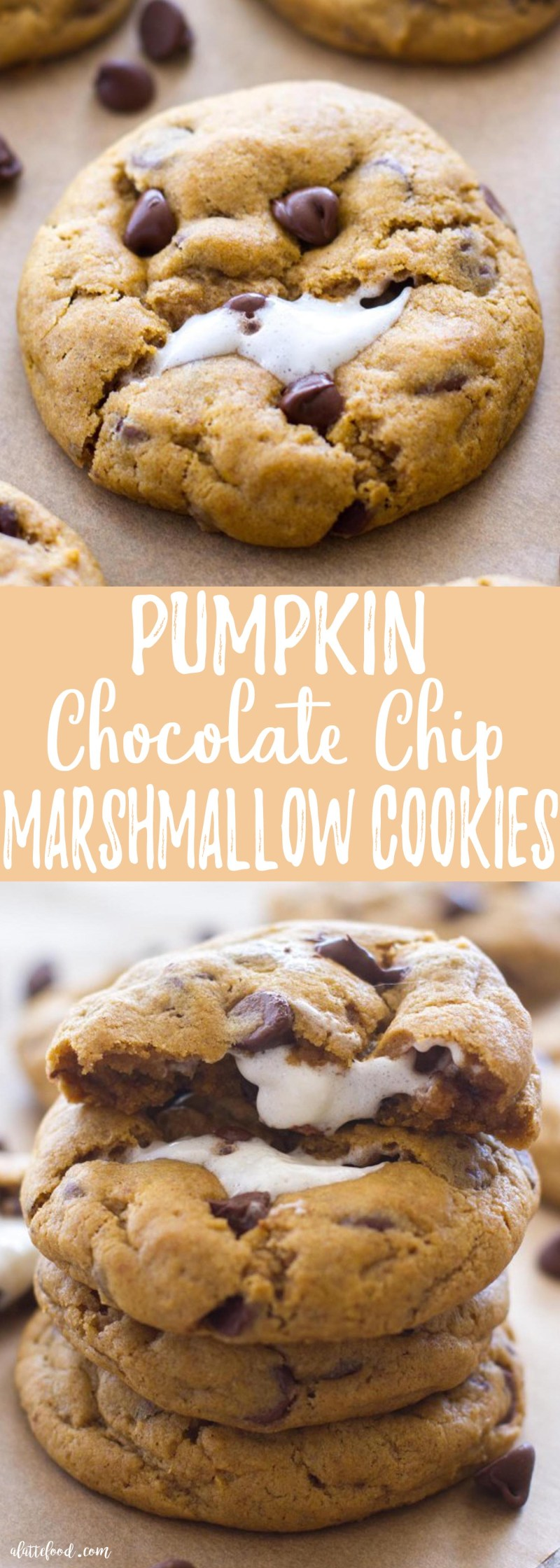These thick and chewy Pumpkin Chocolate Chip Cookies are baked with a gooey marshmallow inside, making these rich, chocolatey pumpkin cookies the perfect fall dessert! Plus, a step-by-step video below!