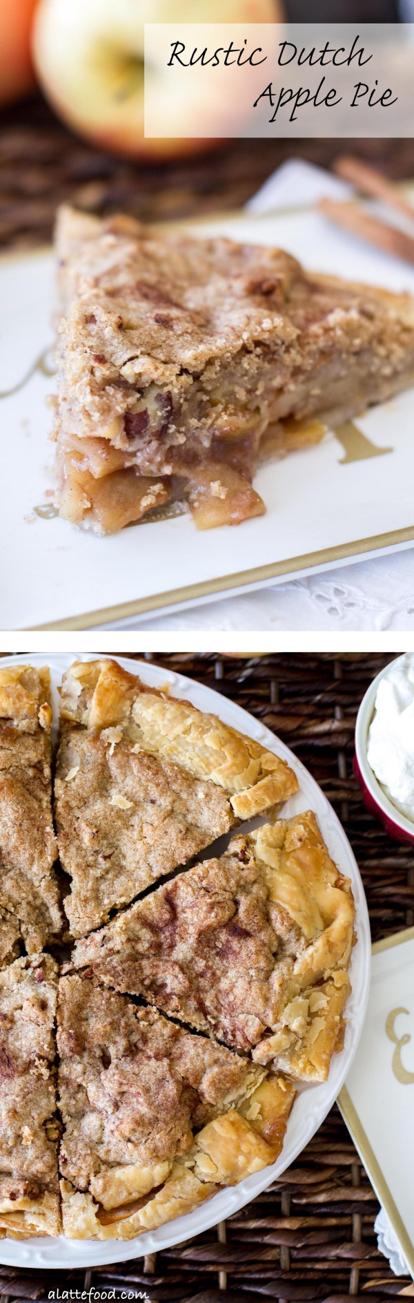 This easy apple pie recipe is full of sweet apples, cinnamon sugar, and topped with a Dutch apple crust!