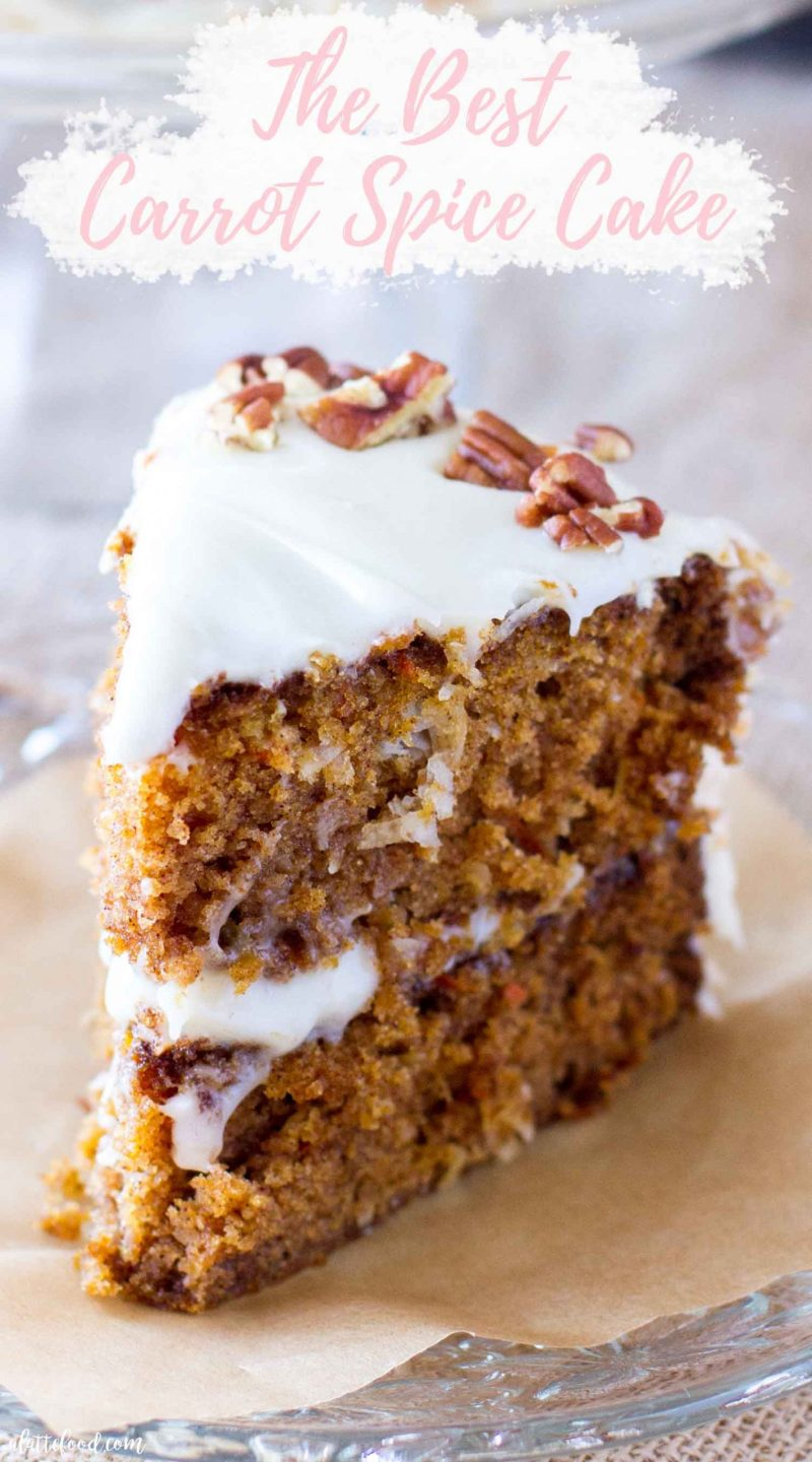 carrot spice cake slice with frosting